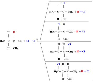 Reação de monocloração do metilbutano