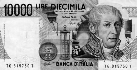 Reprodução de nota ilatiana com imagem deVolta e sua pilha