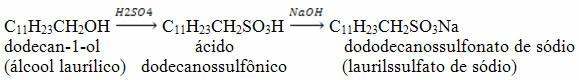 Reação de obtenção do dododecanossulfonato de sódio por meio do dodecan-1-ol
