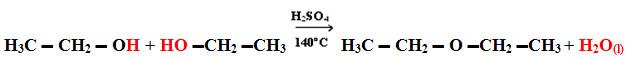 Reação de obtenção do etoxietano por meio do ácido sulfúrico