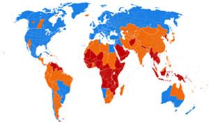Regiões que adotam o horário de verão (azul), que já adotaram e não adotam mais (laranja) e que nunca adotaram (vermelho).