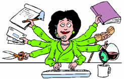 secretaria trabalhando
