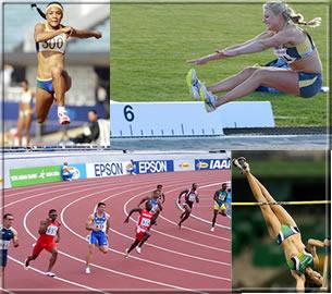 Salto triplo, salto em distância, 400 metros e salto em altura