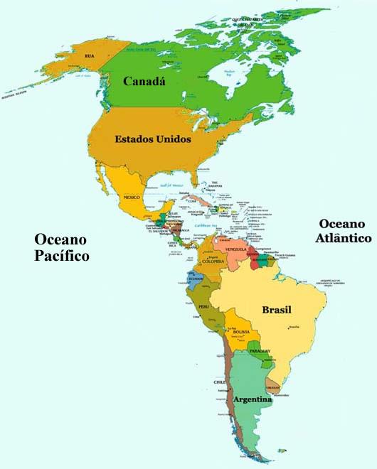 Mapa politico de continente americano detallado - Imagui