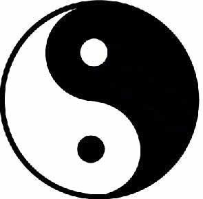 lado negro é o Yin e o branco o Yang; o pequeno círculo branco no ...