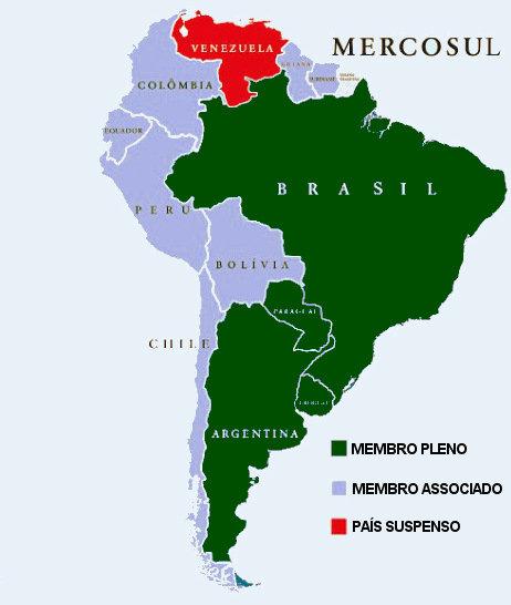 O Mercosul é um bloco econômico composto por países da América Latina. Em dezembro de 2016 a Venezuela foi suspensa.
