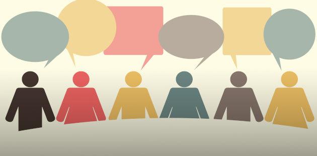 desenho representando pessoas e diálogo