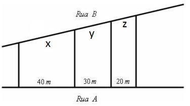 Ilustração de questão Fuvest sobre retas paralelas cortadas por transversais