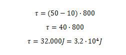 Cálculo do trabalho realizado pela força de tração do cavalo na região em que ela é constante.