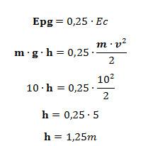 Cálculo da altura atingida em razão da conversão de energia cinética em potencial gravitacional — questão UCB