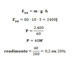 Cálculo da eficiência do sistema para erguer uma massa de 80 kg a uma altura de 3 m durante 1 min