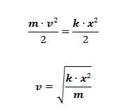 Fórmulas da energia potencial elástica e energia cinética