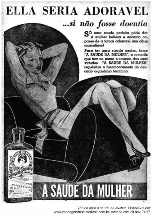 """Anúncio publicitário da década de 1940 sobre """"tônico para a saúde da mulher""""."""