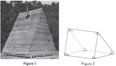 Foto de cabana, à direita, e sua representação geométrica, à esquerda.