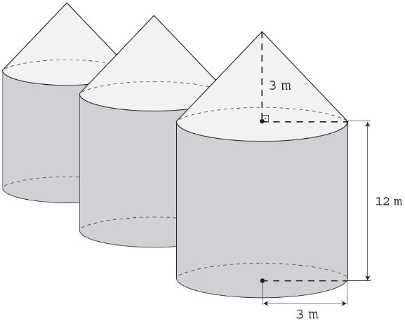 Ilustração de silos no formato de cilindro reto e sobrepostos por um cone