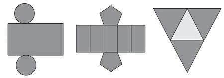 Planificação de três caixas com diferentes formatos