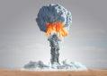 Ilustração da bomba atômica explodindo