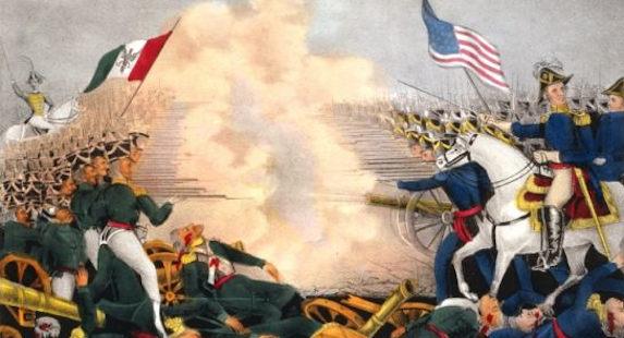 Pintura de soldados mexicanos e americanos se enfrentando. Representação da Batalha de Buena Vista.