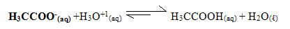 Reação de neutralização do ânion acetato com o hidrônio