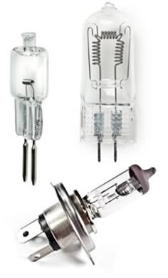 Alguns exemplos de lâmpadas halógenas