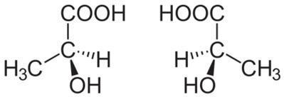 Moléculas isômeras do ácido lático