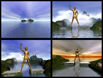 Imagem criada em computador representando o Colosso de Rhodes