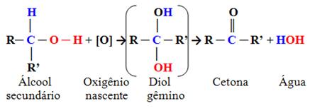 Esquema de oxidação de álcool secundário