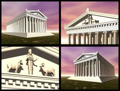 Criação em 3D do que seria o Templo de Ártemis em Éfeso