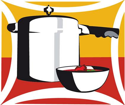 Na panela de pressão os alimentos são cozidos de forma mais rápida
