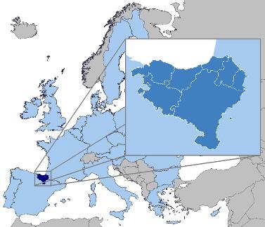Mapa de localização do território basco