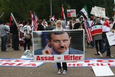 Manifestação de cidadãos sírios em Washington, Estados Unidos. ³