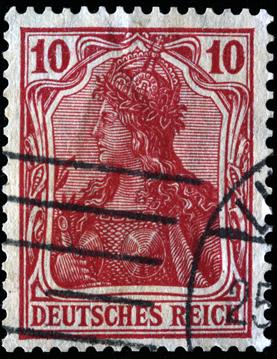 Selo do Império Alemão simbolizando uma valquíria. A mitologia foi utilizada na formação do nacionalismo germânico.*