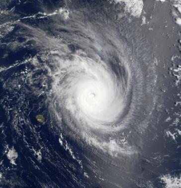 Imagem de satélite de um grande furacão