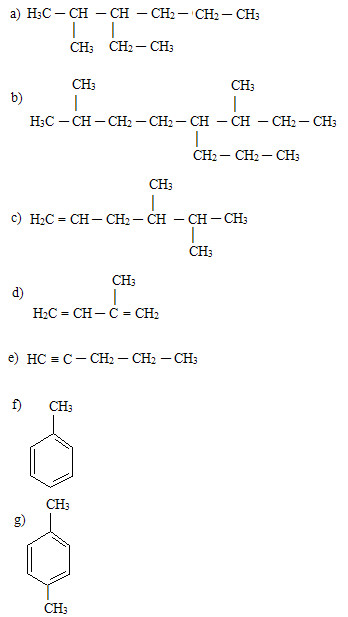 Exercícios de nomenclatura de hidrocarbonetos cíclicos e ramificados