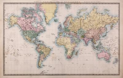 Projeção de Mercator em uma reelaboração gráfica realizada em 1860
