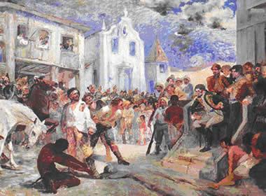 Tela de Antônio Parreiras (1860-1937) retratando o julgamento de Filipe dos Santos