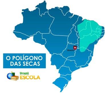 O polígono das secas abrange parte do Nordeste e o norte de Minas Gerais