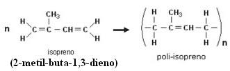 Reação de polimerização do isopreno para a produção do poli-isopreno