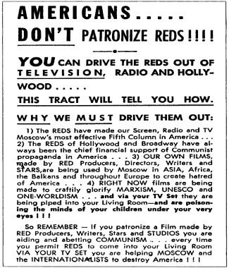 Panfleto macartista fazendo denúncia das ações comunistas