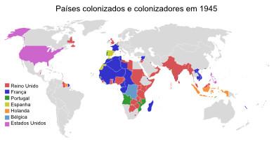 Mapa do mundo colonial existente em 1945
