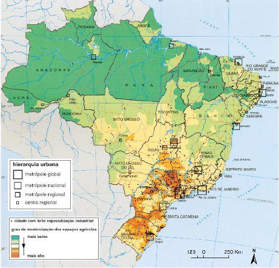 Mapa da Hierarquia Urbana no Brasil