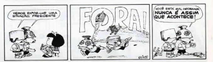 A charge pode ser uma relevante ferramenta de difusão cultural e de formação educacional. Mafalda, de Quino