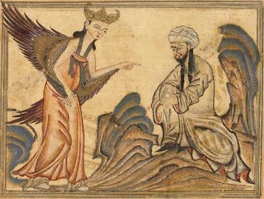 Maomé recebendo a revelação do anjo Gabriel, situação retratada em gravura otomana