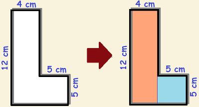 """Você conhece uma forma de calcular a área desse polígono côncavo em formato de """"L"""""""