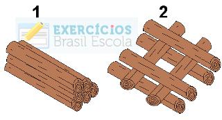 Toras de madeira em exercício sobre superfície de contato e velocidade das reações