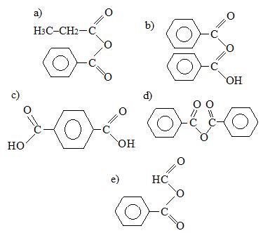Alternativas em exercícios sobre anidridos orgânicos