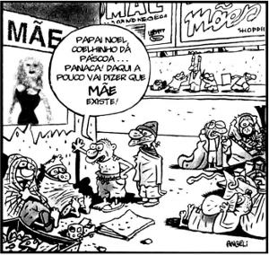 Charge do cartunista Angeli, publicada na Folha de São Paulo em 14 de maio de 2000 e texto-base para questão do Enem do mesmo ano