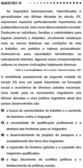 Questão do Enem 2011 sobre migrações