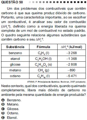 Questão 50 do Enem – 2011 sobre termoquímica