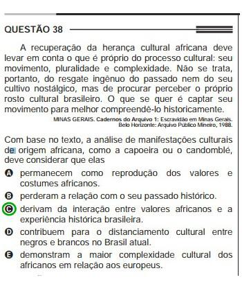 Questão do Enem de 2013 sobre os aspectos culturais africanos na composição da identidade brasileira.